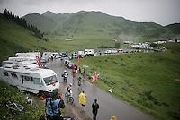 Ruben Plaza (ESP/Orica-BikeExchange) diving into the treacherous descent off the Col de Joux Plane (HC/1691m/11.6km/8.5%) towards the finish in Morzine<br /> <br /> Stage 20: Megève › Morzine (146.5km)<br /> 103rd Tour de France 2016