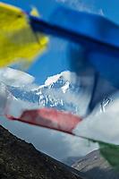 Lhotse with prayer flags, Khumbu, Nepal