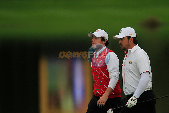 Rory McIlroy and partner Graeme McDowell walk down the 6th hole for the second session of Fourball Match 2  during Day 1 of the The 2010 Ryder Cup at the Celtic Manor, Newport, Wales, 29th September 2010..(Picture Eoin Clarke/www.golffile.ie)