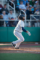 Tri-City Dust Devils third baseman Jose Lezama (18) starts down the first base line during a Northwest League game against the Everett AquaSox at Everett Memorial Stadium on September 3, 2018 in Everett, Washington. The Everett AquaSox defeated the Tri-City Dust Devils by a score of 8-3. (Zachary Lucy/Four Seam Images)