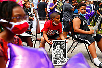 On the two year anniversary of the death of Antwon Rose II, who was shot by an East Pittsburgh police officer, a march and a balloon release took place on Friday June 19, 2020 in East Pittsburgh, Pennsylvania. (Photo by Jared Wickerham/Pittsburgh City Paper)