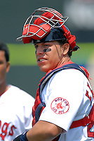 Catcher Luis Exposito of the Portland Sea Dogs prior to the game vs. the New Britain Rock Cats at Hadlock Field in Portland, Maine on May 31, 2010 (Photo by Ken Babbitt/Four Seam Images)