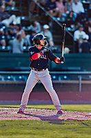 24 August 2019: Lowell Spinners designated hitter Cameron Cannon in action against the Vermont Lake Monsters at Centennial Field in Burlington, Vermont. The Spinners rallied in the 9th inning to overcome a 2-1 deficit and defeat the Lake Monsters 3-2 in NY Penn League play. Mandatory Credit: Ed Wolfstein Photo *** RAW (NEF) Image File Available ***