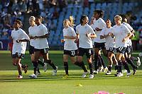 Uefa Women 's Champions League Final 2010 at  Coliseum Alfonso Perez in Getafe , Madrid : Olympique Lyon - Turbine Potsdam : opwarming / warming up team Lyon.foto DAVID CATRY / Vrouwenteam.be