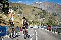 Jack Bauer (NZL/Michelton-Scott) & Christopher Juul-Jensen (DEN/Mitchelton-Scott) in the final kilometer up the Orcières-Merlette finish<br /> <br /> Stage 4 from Sisteron to Orcières-Merlette (161km)<br /> <br /> 107th Tour de France 2020 (2.UWT)<br /> (the 'postponed edition' held in september)<br /> <br /> ©kramon