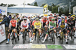 The peloton line up for the start of Stage 9 of the 2021 Tour de France, running 150.8km from Cluses to Tignes, France. 4th July 2021.  <br /> Picture: A.S.O./Pauline Ballet   Cyclefile<br /> <br /> All photos usage must carry mandatory copyright credit (© Cyclefile   A.S.O./Pauline Ballet)