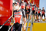 Most aggressive rider from yesterday's stage Stan de Wulf (BEL) Lotto Soudal at sign on before the start of Stage 9 of the Vuelta Espana 2020 running 157.7km from B.M. Cid Campeador. Castrillo del Val to Aguilar de Campo, Spain. 29th October 2020.    <br /> Picture: Luis Angel Gomez/PhotoSportGomez | Cyclefile<br /> <br /> All photos usage must carry mandatory copyright credit (© Cyclefile | Luis Angel Gomez/PhotoSportGomez)