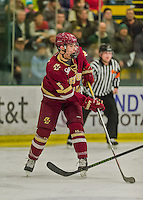 19 February 2016: Boston College Eagle Defenseman Casey Fitzgerald, a Freshman from North Reading, MA, in first period action against the University of Vermont Catamounts at Gutterson Fieldhouse in Burlington, Vermont. The Eagles defeated the Catamounts 3-1 in the first game of their weekend series. Mandatory Credit: Ed Wolfstein Photo *** RAW (NEF) Image File Available ***