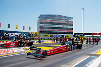 Aug 8, 2020; Clermont, Indiana, USA; NHRA top fuel driver Leah Pruett (near) alongside Doug Kalitta during qualifying for the Indy Nationals at Lucas Oil Raceway. Mandatory Credit: Mark J. Rebilas-USA TODAY Sports