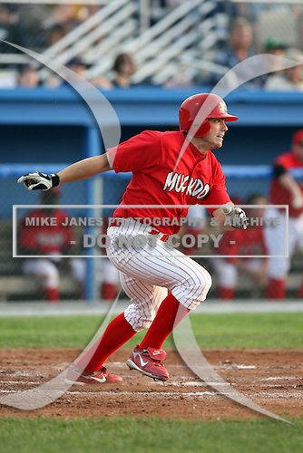 June 25th 2008:  Outfielder Chris Swauger (8) of the Batavia Muckdogs, Class-A affiliate of the St. Louis Cardinals, during a game at Dwyer Stadium in Batavia, NY.  Photo by:  Mike Janes/Four Seam Images