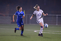 Gwen Duijsters (13) of KRC Genk and Michelle Colson (2) of Anderlecht in action  during a female soccer game between  Racing Genk Ladies and Royal Sporting Club Anderlecht , a delayed game from the 1st  matchday of the 2021-2022 season of the Belgian Scooore Womens Super League , tuesday 28 September 2021  in Genk , Belgium . PHOTO SPORTPIX | JILL DELSAUX