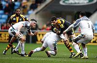 Photo: Richard Lane/Richard Lane Photography. Wasps v Newcastle Falcons. Aviva Premiership. 06/02/2016. Wasps' Alex Rieder attacks.