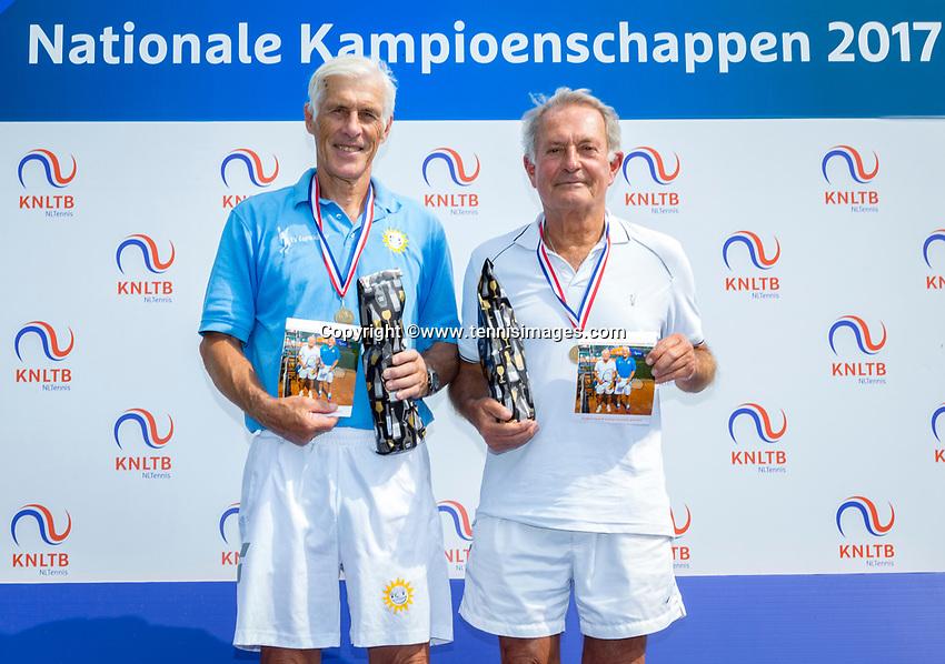 Etten-Leur, The Netherlands, August 26, 2017,  TC Etten, NVK, Winner men 75+ Ed Sasker (L) and runner up Niels Menko<br /> Photo: Tennisimages/Henk Koster