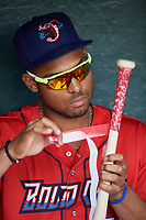 Jacksonville Jumbo Shrimp right fielder John Norwood (22) tapes the handle of his bat in the dugout before a game against the Biloxi Shuckers on June 8, 2018 at Baseball Grounds of Jacksonville in Jacksonville, Florida.  Biloxi defeated Jacksonville 5-3.  (Mike Janes/Four Seam Images)