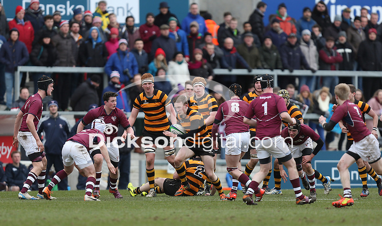 CAI vs RBAI | Tuesday 3rd March 2015<br /> <br /> Ethan Harbinson on the attack during the 2015 Ulster Schools Cup Semi-Final between Coleraine Inst and RBAI at the Kingspan Stadium, Ravenhill Park, Belfast, Northern Ireland.<br /> <br /> Picture credit: John Dickson / DICKSONDIGITAL