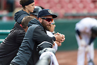 Arizona Diamondbacks outfield and baserunning coordinator Jonny Gomes during a Midwest League game against the Cedar Rapids Kernels at Northwestern Medicine Field on April 28, 2019 in Geneva, Illinois. Kane County defeated Cedar Rapids 3-2 in game one of a doubleheader. (Zachary Lucy/Four Seam Images)
