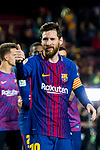 Lionel Andres Messi of FC Barcelona gives a thumbs-up and winks after the La Liga 2017-18 match between FC Barcelona and Real Madrid at Camp Nou on May 06 2018 in Barcelona, Spain. Photo by Vicens Gimenez / Power Sport Images