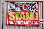 Bristol City 1 Middlesbrough 0, 16/01/2016. Ashton Gate, Championship. The Bristol City Ultras - Forza East End, a flag pictured in the Atyeo Stand during the game between managerless Bristol City and Championship leaders Middlesbrough. Ashton Gate is located in the south-west of the city, it currently has an all-seated capacity of 16,600, due to redevelopment, which will increase to a capacity of 27,000 by the start of the 2016-17 season. Bristol City won the game one goal to nil with a headed injury time winner. Photo by Simon Gill