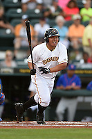 Bradenton Marauders catcher Jin-De Jhang (47) at bat during a game against the St. Lucie Mets on April 11, 2015 at McKechnie Field in Bradenton, Florida.  St. Lucie defeated Bradenton 3-2.  (Mike Janes/Four Seam Images)