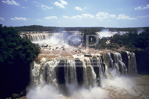 Iguassu Falls, Brazil. The falls seen from above with mist rising.