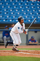 Lake County Captains left fielder Todd Isaacs (6) follows through on a swing during the first game of a doubleheader against the South Bend Cubs on May 16, 2018 at Classic Park in Eastlake, Ohio.  South Bend defeated Lake County 6-4 in twelve innings.  (Mike Janes/Four Seam Images)