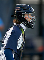 Calvary Christian Warriors catcher Zachary Ferlita (18) during warmups before a game against the Lakeland Christian Vikings on February 27, 2021 at Calvary Christian High School in Clearwater, Florida.  (Mike Janes/Four Seam Images)