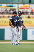 New York Yankees shortstop Gleyber Torres (25) and third baseman Miguel Andujar (41) during a Grapefruit League Spring Training game against the Detroit Tigers on February 27, 2019 at Publix Field at Joker Marchant Stadium in Lakeland, Florida.  Yankees defeated the Tigers 10-4 as the game was called after the sixth inning due to rain.  (Mike Janes/Four Seam Images)