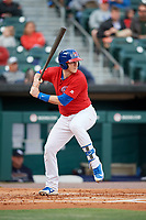 Buffalo Bisons catcher Danny Jansen (9) at bat during a game against the Scranton/Wilkes-Barre RailRiders on May 18, 2018 at Coca-Cola Field in Buffalo, New York.  Buffalo defeated Scranton/Wilkes-Barre 5-1.  (Mike Janes/Four Seam Images)