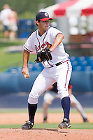 Relief pitcher David Hale #28 of the Rome Braves in action against the Greenville Drive at State Mutual Stadium July 25, 2010, in Rome, Georgia.  Photo by Brian Westerholt / Four Seam Images