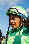 AUG 6,2014:Sunset Glow,ridden by Victor Espinoza,wins the Sorrento Stakes at Del Mar in Del Mar,CA.The winning jockey Victor Espinoza  Kazushi Ishida/ESW/CSM