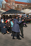 Kaunas Lithuania seniors dancing during the Spring Market in Town Hall Square in the Old Town. 2017 2010s,