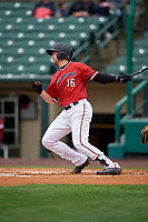 Rochester Red Wings Wynston Sawyer (16) at bat during an International League game against the Charlotte Knights on June 16, 2019 at Frontier Field in Rochester, New York.  Rochester defeated Charlotte 11-5 in the first game of a doubleheader that was a continuation of a game postponed the day prior due to inclement weather.  (Mike Janes/Four Seam Images)