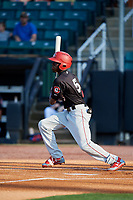 Chattanooga Lookouts shortstop Nick Gordon (5) follows through on a swing during a game against the Jackson Generals on April 29, 2017 at The Ballpark at Jackson in Jackson, Tennessee.  Jackson defeated Chattanooga 7-4.  (Mike Janes/Four Seam Images)
