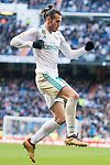 Real Madrid Gareth Bale celebrating a goal during La Liga match between Real Madrid and R. C. Deportivo at Santiago Bernabeu Stadium in Madrid, Spain. January 18, 2018. (ALTERPHOTOS/Borja B.Hojas)