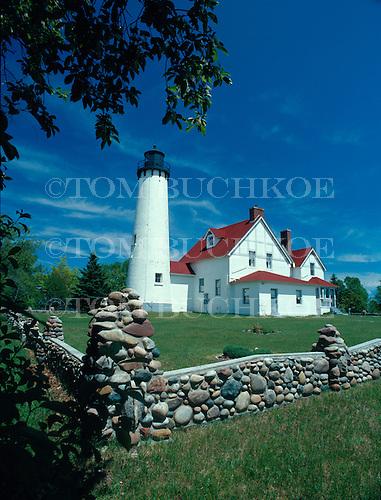 Iroquois Pt Lighthouse in Michigan's Upper Peninsula, on Lake Superior near Bay Mills, Michigan.