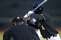 DJ Poteet (4) of the Wake Forest Demon Deacons at bat against the Illinois Fighting Illini at David F. Couch Ballpark on February 16, 2019 in  Winston-Salem, North Carolina.  The Fighting Illini defeated the Demon Deacons 5-2. (Brian Westerholt/Four Seam Images)