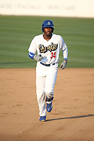 Ibandel Isabel (34) of the Rancho Cucamonga Quakes runs the bases during a game against the Stockton Ports at Loan Mart Field on July 16, 2017 in Rancho Cucamonga, California. Rancho Cucamonga defeated Stockton 9-1. (Larry Goren/Four Seam Images)