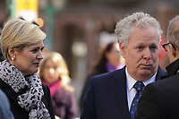 Former Quebec Premier Jean Charest and his  wife  Micheline Dionne-Charest<br /> (L)<br />  attend<br /> the funerals of Jean Lapierre, former politician and media,<br />  April 16, 2016 in Outremont.<br /> <br /> Photo : Pierre Roussel - Agence Quebec Presse<br /> <br /> <br /> <br /> <br /> <br /> <br /> <br /> <br /> .