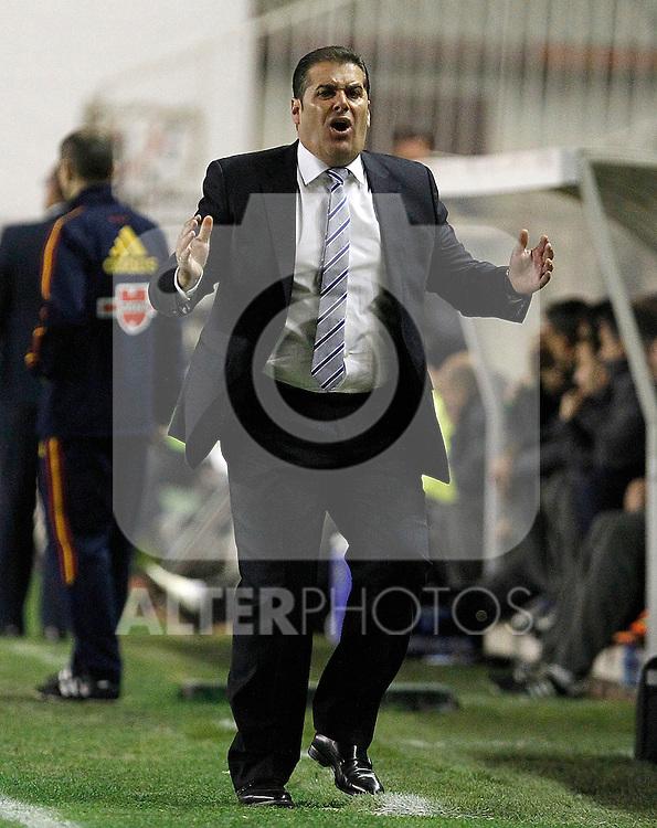 Rayo Vallecano's coach Jose Ramon Sandoval during La Liga match.March 17,2012. (ALTERPHOTOS/Acero)
