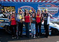 Sep 2, 2019; Clermont, IN, USA; NHRA funny car driver John Force celebrates with family after winning the US Nationals at Lucas Oil Raceway. Mandatory Credit: Mark J. Rebilas-USA TODAY Sports