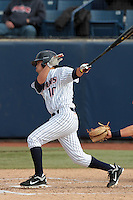Anthony Trajano #10 of the Cal State Fullerton Titans bats against the Loyola Marymount Lions at Goodwin Field on February 29, 2012 in Fullerton,California. Cal State Fullerton defeated LMU 6-2.(Larry Goren/Four Seam Images)