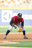 Scranton/Wilkes-Barre RailRiders third baseman Adonis Garcia (10) on defense against the Charlotte Knights at BB&T Ballpark on July 17, 2014 in Charlotte, North Carolina.  The Knights defeated the RailRiders 9-5.  (Brian Westerholt/Four Seam Images)