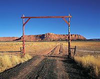 Ranch gate in prairie/desert near Flagstaff, Arizona, US