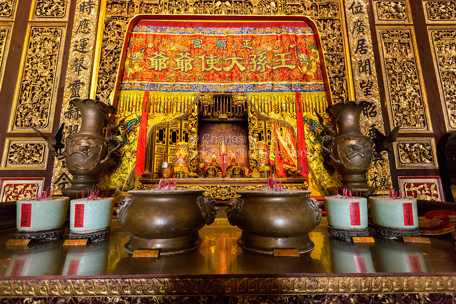 George Town, Penang, Malaysia.  Deities on Altar in Main Prayer hall, Khoo Kongsi, a Hokkien Chinese Temple and Clan House.