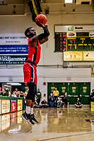 8 January 2020: Stony Brook University Seawolf Guard Elijah Olaniyi, a Junior from Newark, NJ, goes up for three in second half action against the University of Vermont Catamounts at Patrick Gymnasium in Burlington, Vermont. The Seawolves defeated the Catamounts 81-77 in a closely fought game. Mandatory Credit: Ed Wolfstein Photo *** RAW (NEF) Image File Available ***