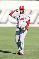 Juremi Profar #2 of the Spokane Indians during a game against the Salem-Keizer Volcanoes at Volcanoes Stadium on July 26, 2014 in Keizer, Oregon. Spokane defeated Salem Keizer, 4-1. (Larry Goren/Four Seam Images)