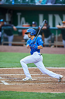 Moises Perez (10) of the Ogden Raptors bats against the Grand Junction Rockies at Lindquist Field on June 17, 2019 in Ogden, Utah. The Rockies defeated the Raptors 9-0. (Stephen Smith/Four Seam Images)