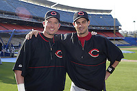 Sean Casey and Aaron Boone of the Cincinnati Reds pose for a photo before a 2002 MLB season game against the Los Angeles Dodgers at Dodger Stadium, in Los Angeles, California. (Larry Goren/Four Seam Images)
