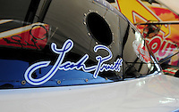 Sept. 30, 2011; Mohnton, PA, USA: Detailed view of the name of NHRA funny car driver Leah Pruett on the side of her car during qualifying for the Auto Plus Nationals at Maple Grove Raceway. Mandatory Credit: Mark J. Rebilas-