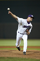 Winston-Salem Dash relief pitcher Will Kincanon (27) in action against the Wilmington Blue Rocks at BB&T Ballpark on April 16, 2019 in Winston-Salem, North Carolina. The Blue Rocks defeated the Dash 4-3. (Brian Westerholt/Four Seam Images)